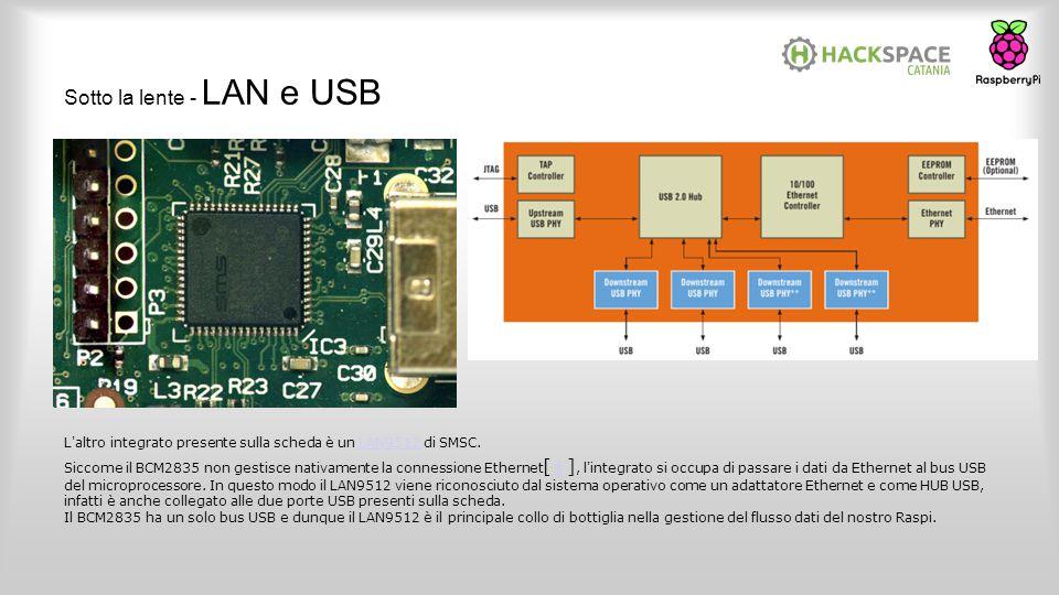 Sotto la lente - LAN e USB L'altro integrato presente sulla scheda è un LAN9512 di SMSC.LAN9512 Siccome il BCM2835 non gestisce nativamente la conness