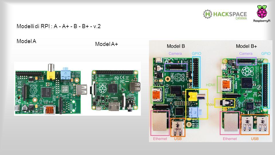 Modelli di RPI : A - A+ - B - B+ - v.2 Model A Model A+