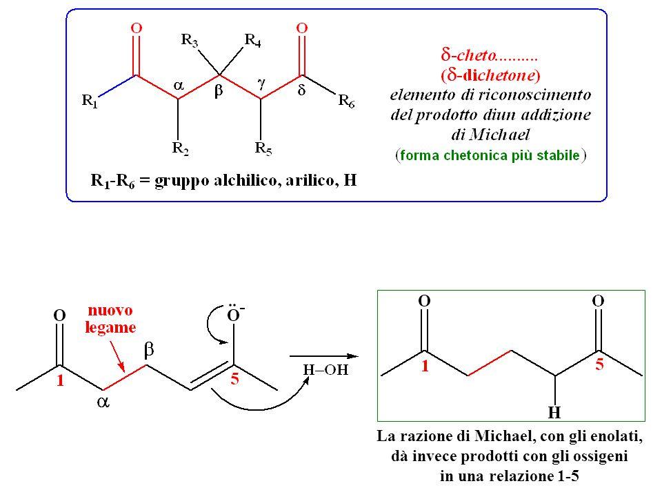 La razione di Michael, con gli enolati, dà invece prodotti con gli ossigeni in una relazione 1-5