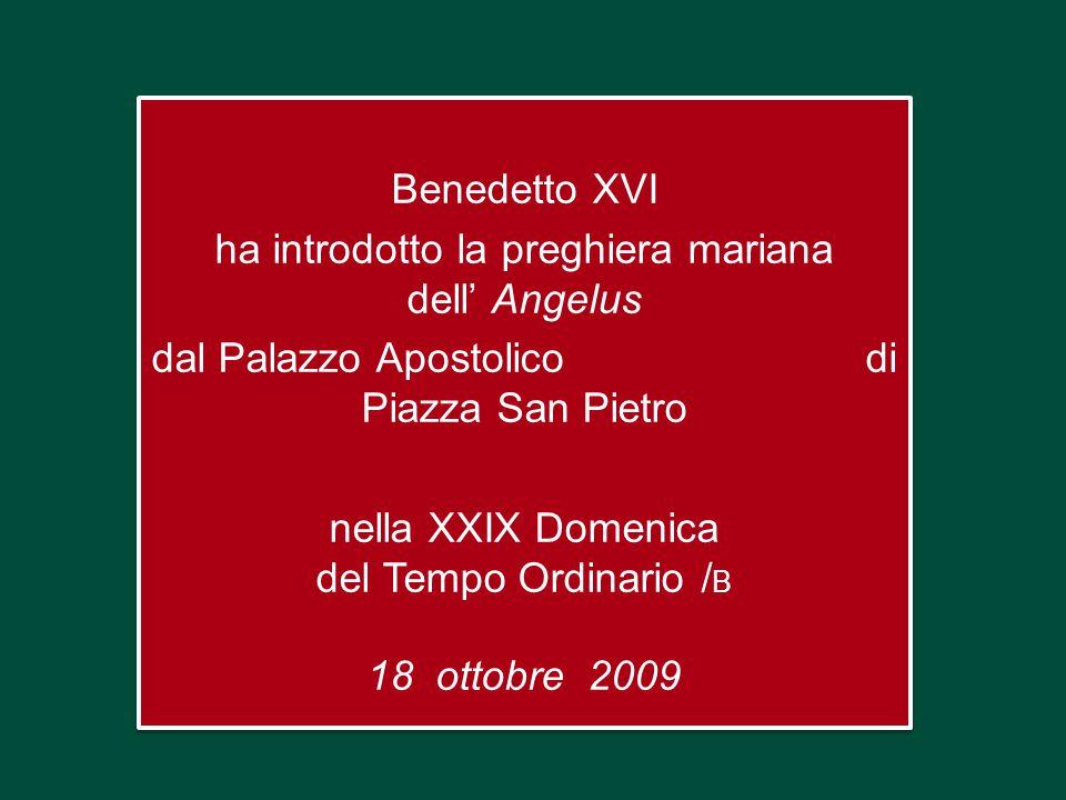 Benedetto XVI ha introdotto la preghiera mariana dell' Angelus dal Palazzo Apostolico di Piazza San Pietro nella XXIX Domenica del Tempo Ordinario / B 18 ottobre 2009 Benedetto XVI ha introdotto la preghiera mariana dell' Angelus dal Palazzo Apostolico di Piazza San Pietro nella XXIX Domenica del Tempo Ordinario / B 18 ottobre 2009