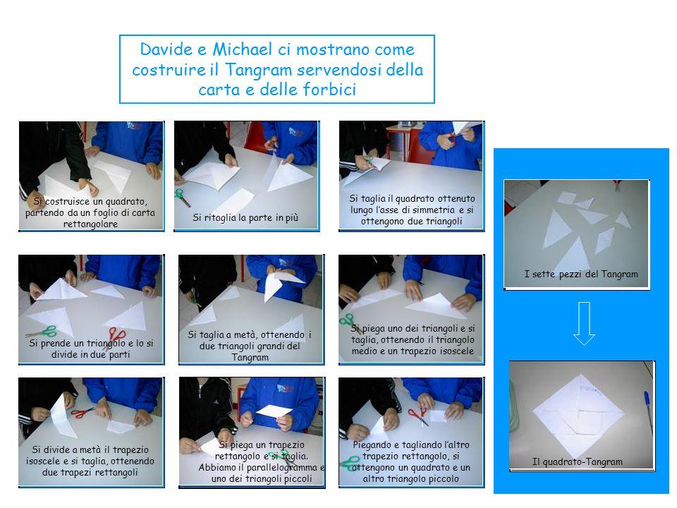 Davide e Michael ci mostrano come costruire il Tangram servendosi della carta e delle forbici Si costruisce un quadrato, partendo da un foglio di cart