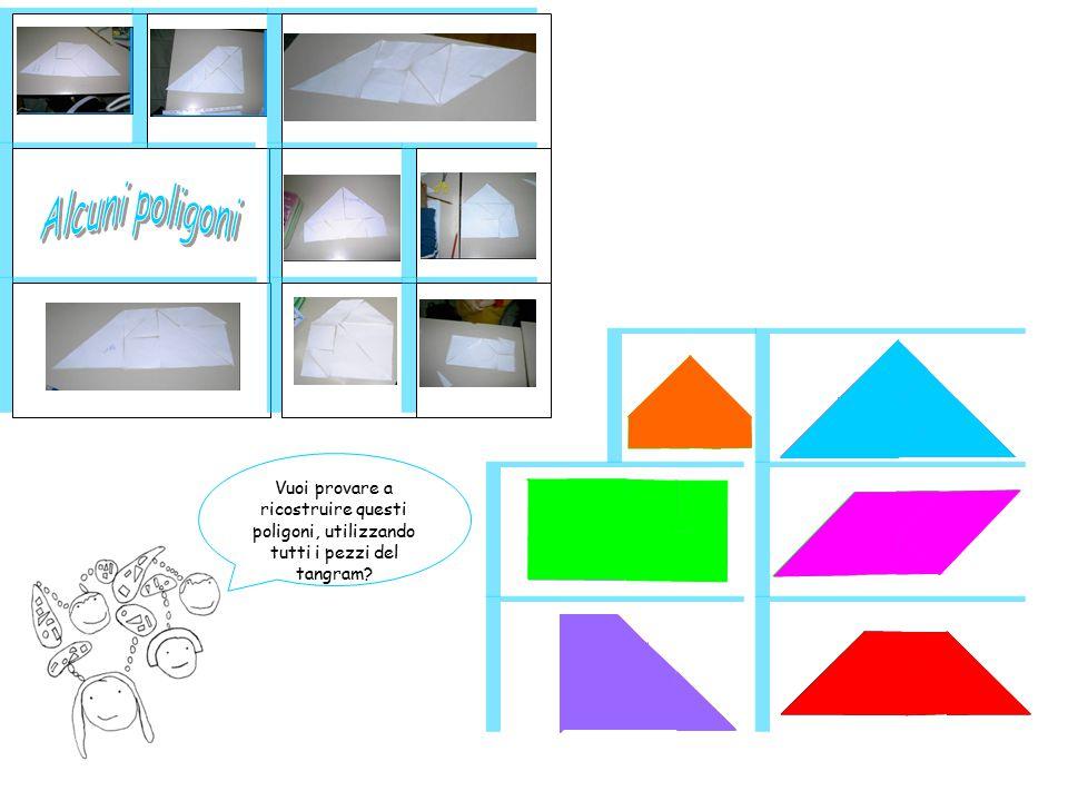 Abbiamo costruito il Tangram utilizzando diversi reticolati: con la quadrettatura di 0,5 cm, di 1 cm, di 2 cm Poi abbiamo calcolato l'area di ogni pezzo e del tangram intero