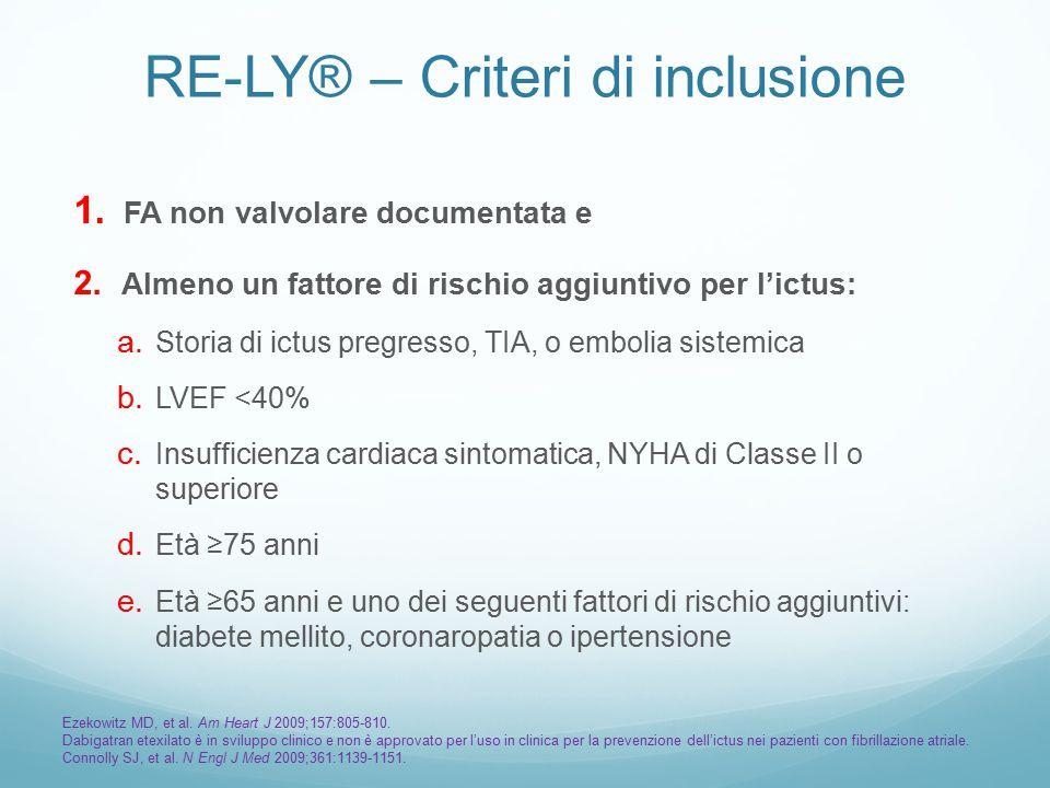 RE-LY® – Criteri di inclusione 1.FA non valvolare documentata e 2.