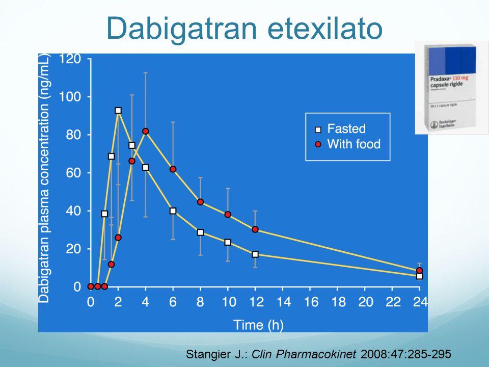 Stangier J.: Clin Pharmacokinet 2008:47:285-295 Dabigatran etexilato
