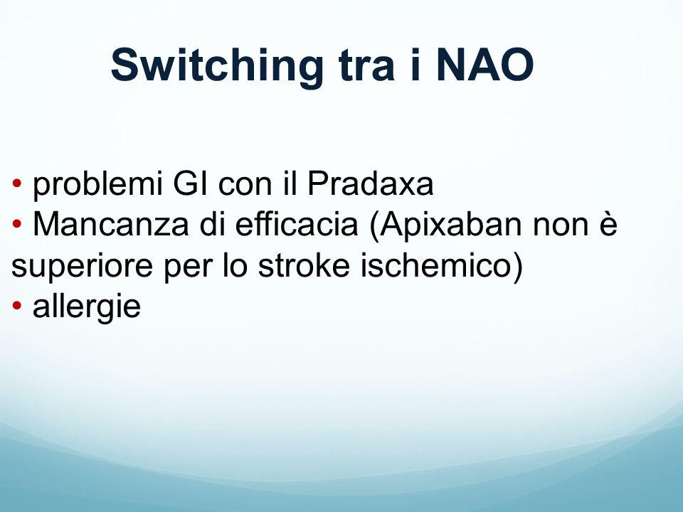 Switching tra i NAO problemi GI con il Pradaxa Mancanza di efficacia (Apixaban non è superiore per lo stroke ischemico) allergie