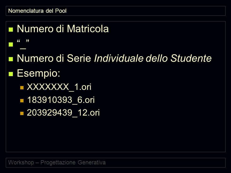 Workshop – Progettazione Generativa Nomenclatura del Pool Numero di Matricola _ Numero di Serie Individuale dello Studente Esempio: XXXXXXX_1.ori 183910393_6.ori 203929439_12.ori