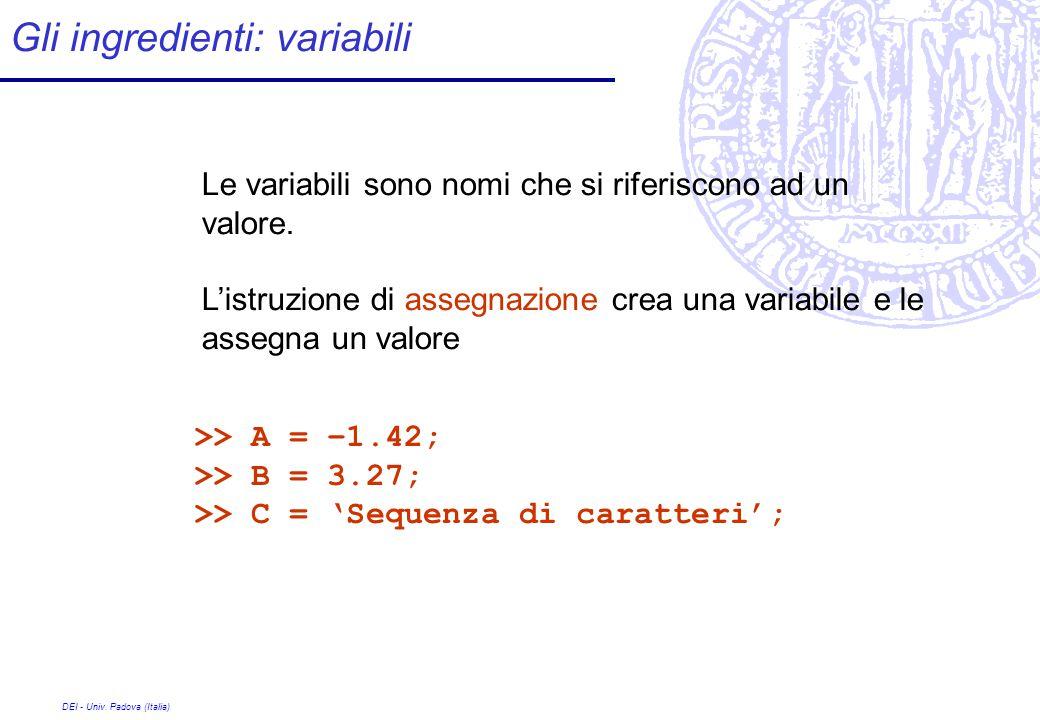 DEI - Univ. Padova (Italia) Le variabili sono nomi che si riferiscono ad un valore.
