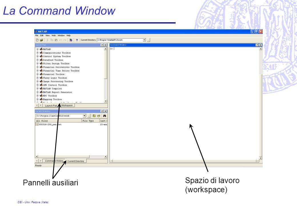 DEI - Univ. Padova (Italia) La Command Window Spazio di lavoro (workspace) Pannelli ausiliari