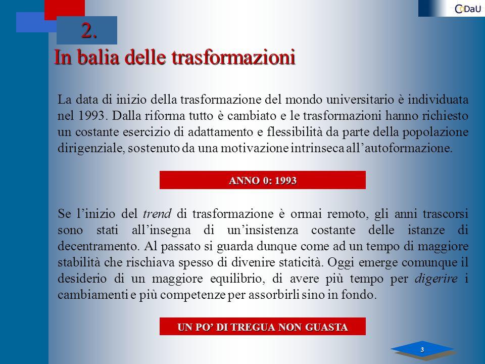 3 In balia delle trasformazioni La data di inizio della trasformazione del mondo universitario è individuata nel 1993.