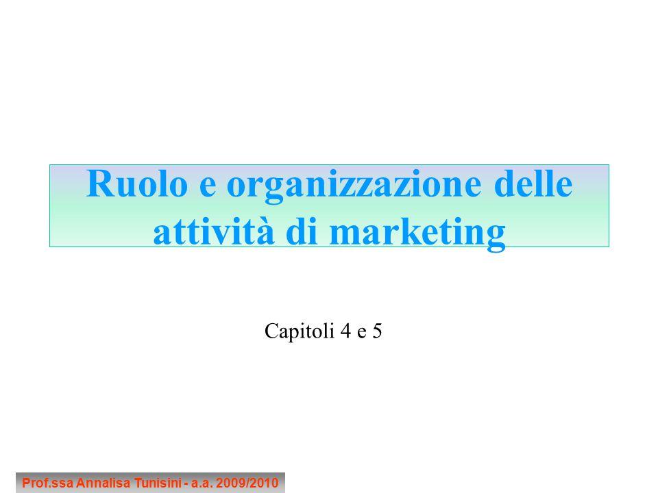 Ruolo e organizzazione delle attività di marketing Prof.ssa Annalisa Tunisini - a.a. 2009/2010 Capitoli 4 e 5