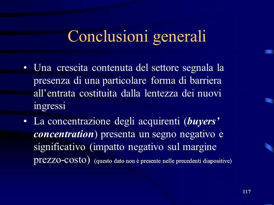 117 Conclusioni generali Una crescita contenuta del settore segnala la presenza di una particolare forma di barriera all'entrata costituita dalla lent