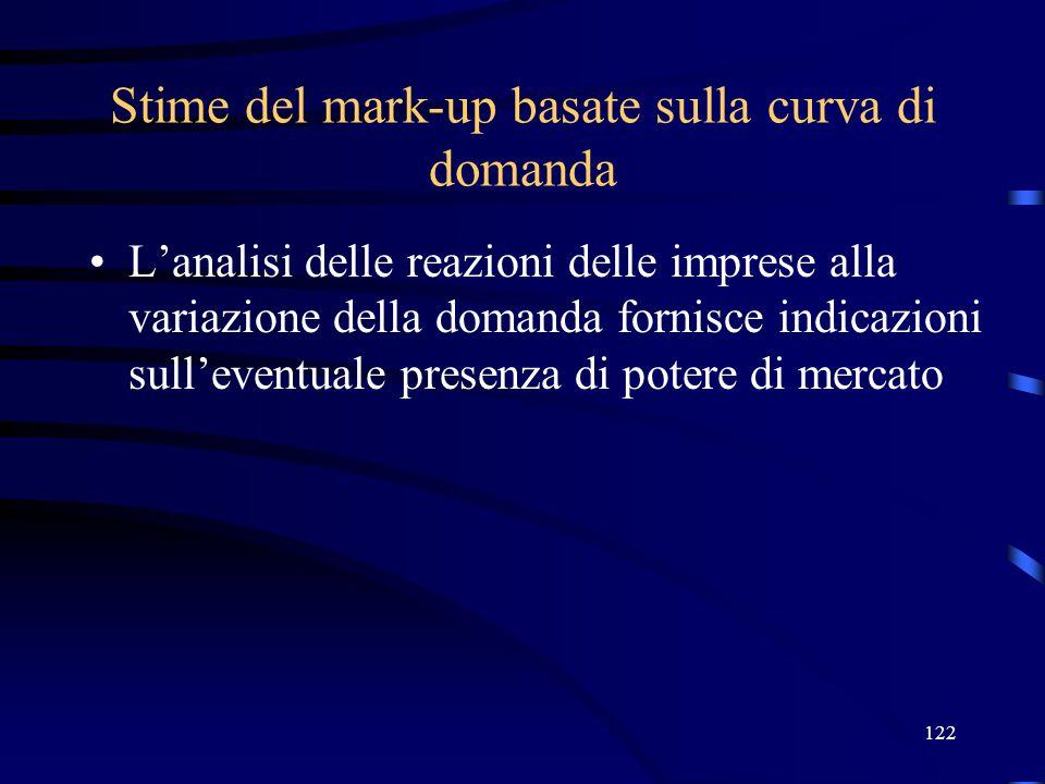 122 Stime del mark-up basate sulla curva di domanda L'analisi delle reazioni delle imprese alla variazione della domanda fornisce indicazioni sull'eventuale presenza di potere di mercato