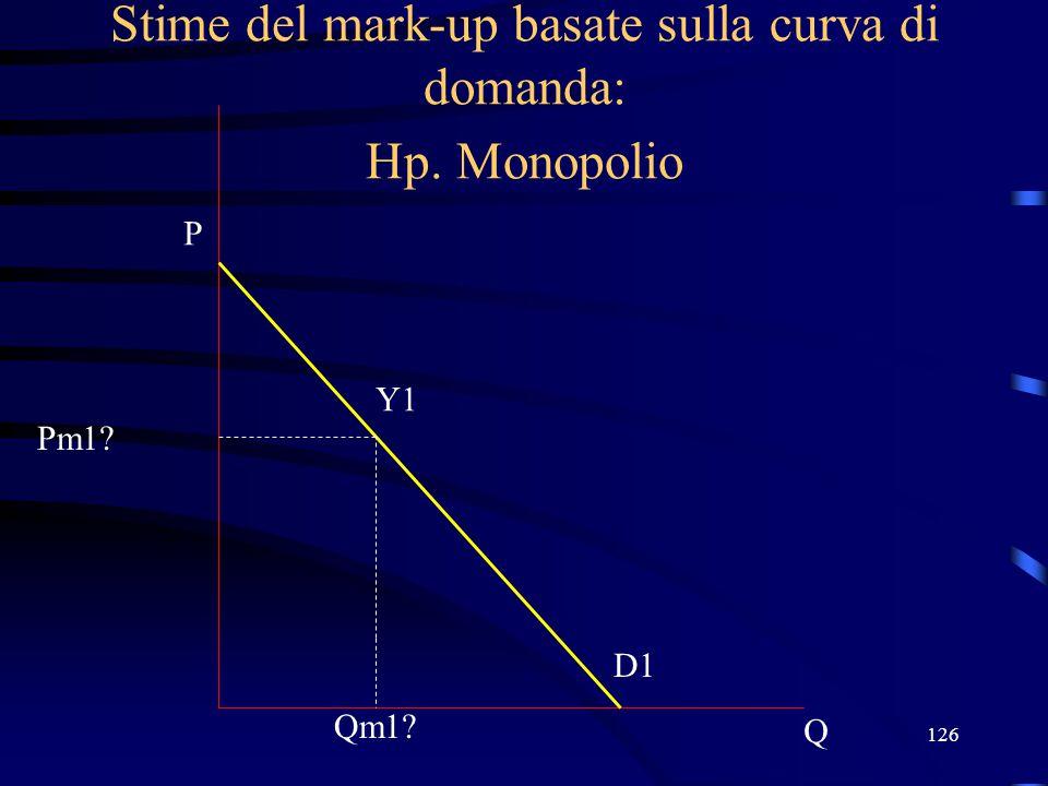 126 Stime del mark-up basate sulla curva di domanda: Hp. Monopolio Q P D1 Qm1? Y1 Pm1?