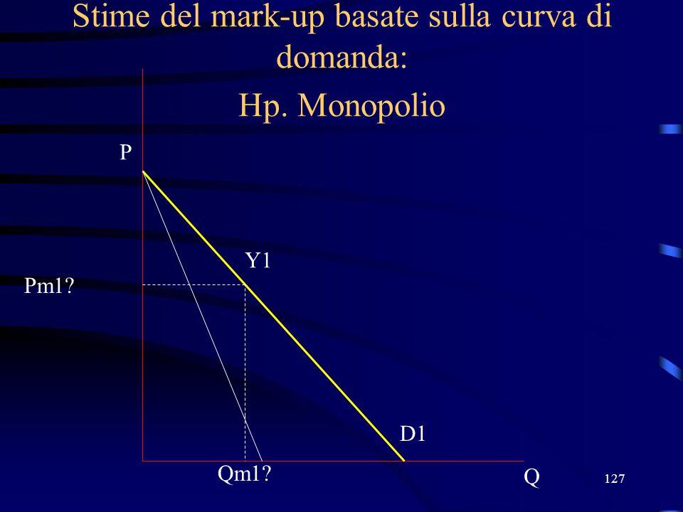 127 Stime del mark-up basate sulla curva di domanda: Hp. Monopolio Q P D1 Qm1? Y1 Pm1?