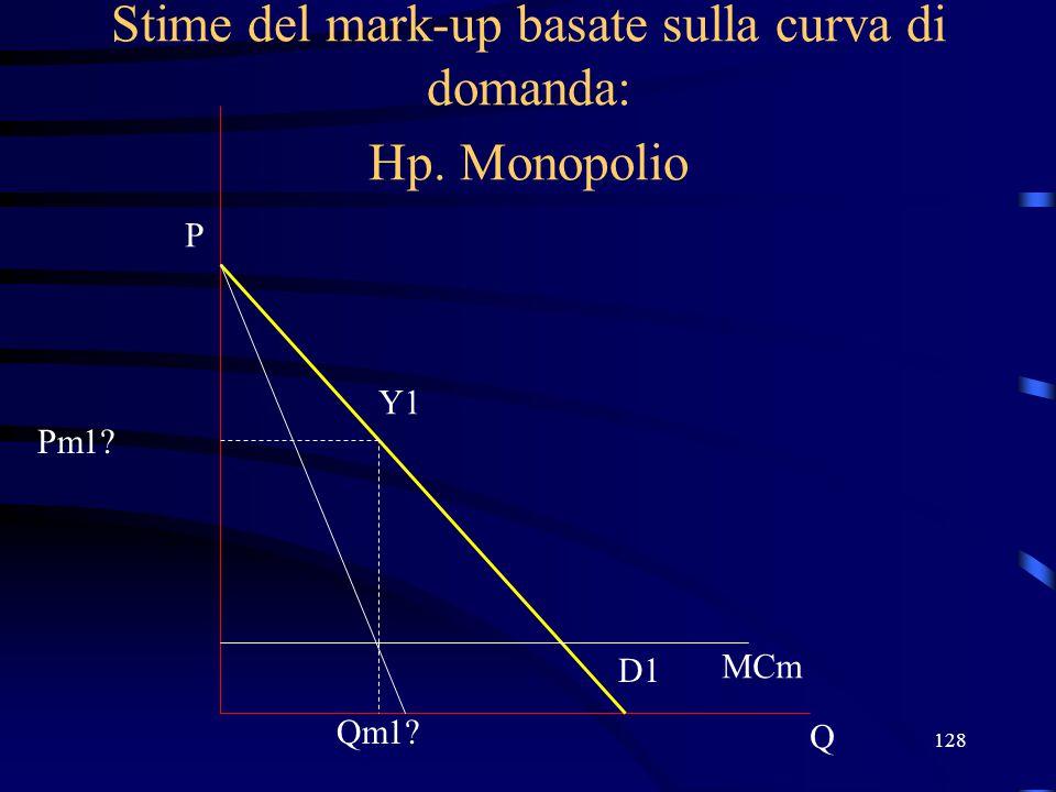 128 Stime del mark-up basate sulla curva di domanda: Hp. Monopolio Q P D1 MCm Qm1? Y1 Pm1?
