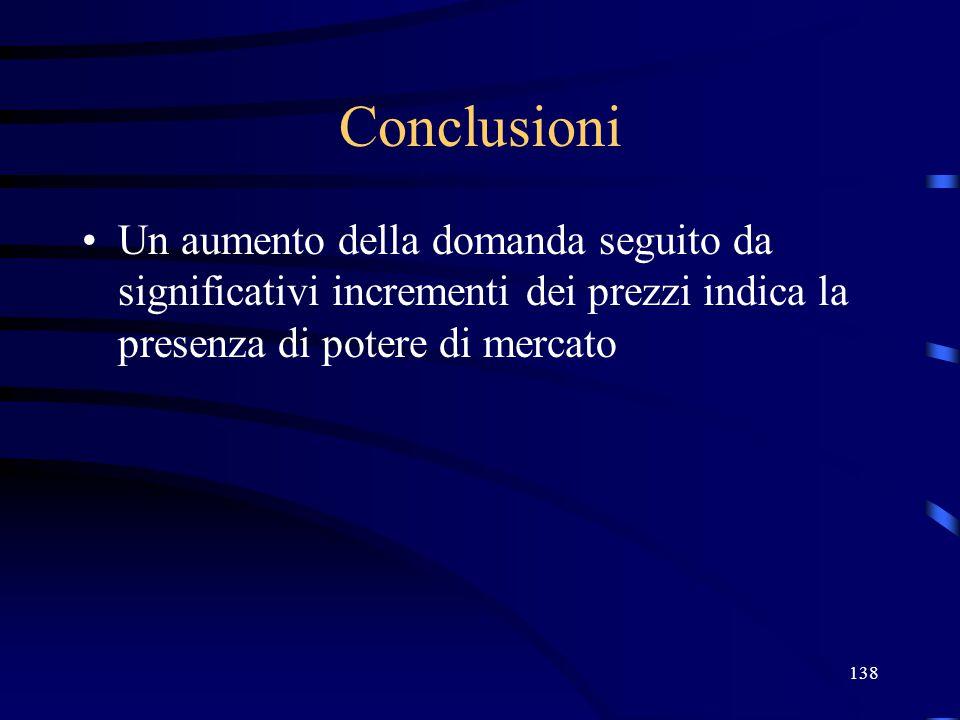 138 Conclusioni Un aumento della domanda seguito da significativi incrementi dei prezzi indica la presenza di potere di mercato