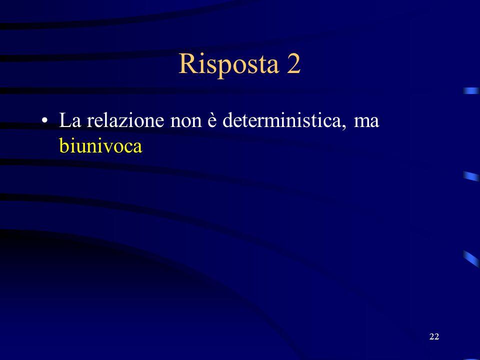 22 Risposta 2 La relazione non è deterministica, ma biunivoca