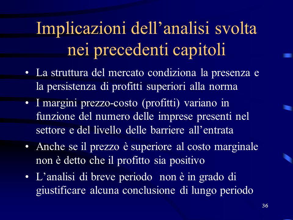 36 Implicazioni dell'analisi svolta nei precedenti capitoli La struttura del mercato condiziona la presenza e la persistenza di profitti superiori all