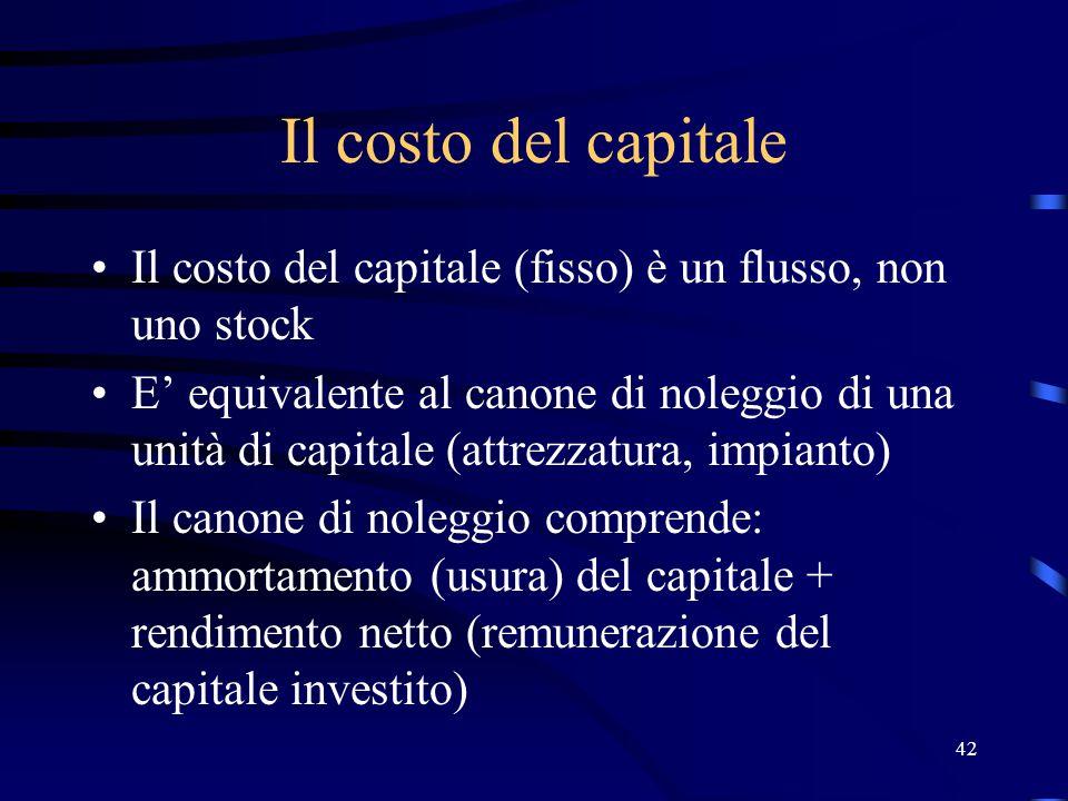 42 Il costo del capitale Il costo del capitale (fisso) è un flusso, non uno stock E' equivalente al canone di noleggio di una unità di capitale (attrezzatura, impianto) Il canone di noleggio comprende: ammortamento (usura) del capitale + rendimento netto (remunerazione del capitale investito)