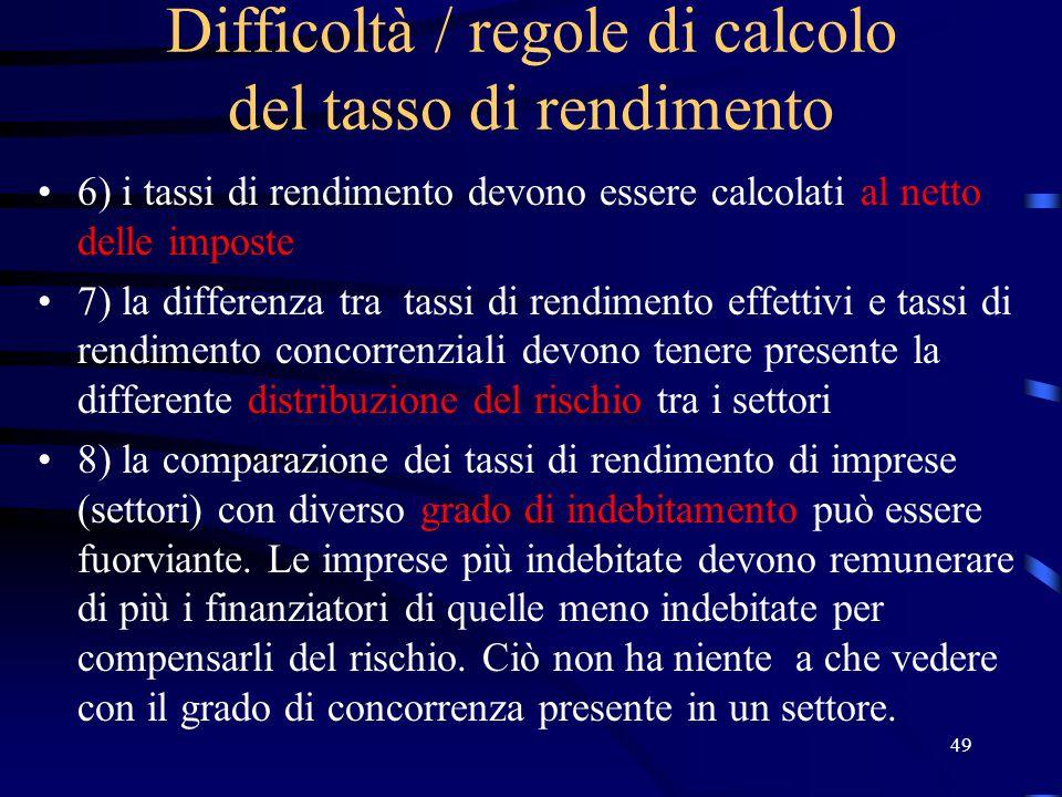 49 Difficoltà / regole di calcolo del tasso di rendimento 6) i tassi di rendimento devono essere calcolati al netto delle imposte 7) la differenza tra