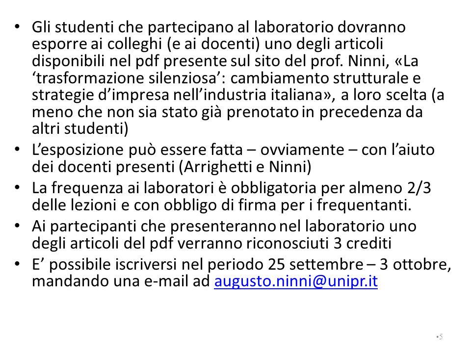 Gli studenti che partecipano al laboratorio dovranno esporre ai colleghi (e ai docenti) uno degli articoli disponibili nel pdf presente sul sito del prof.