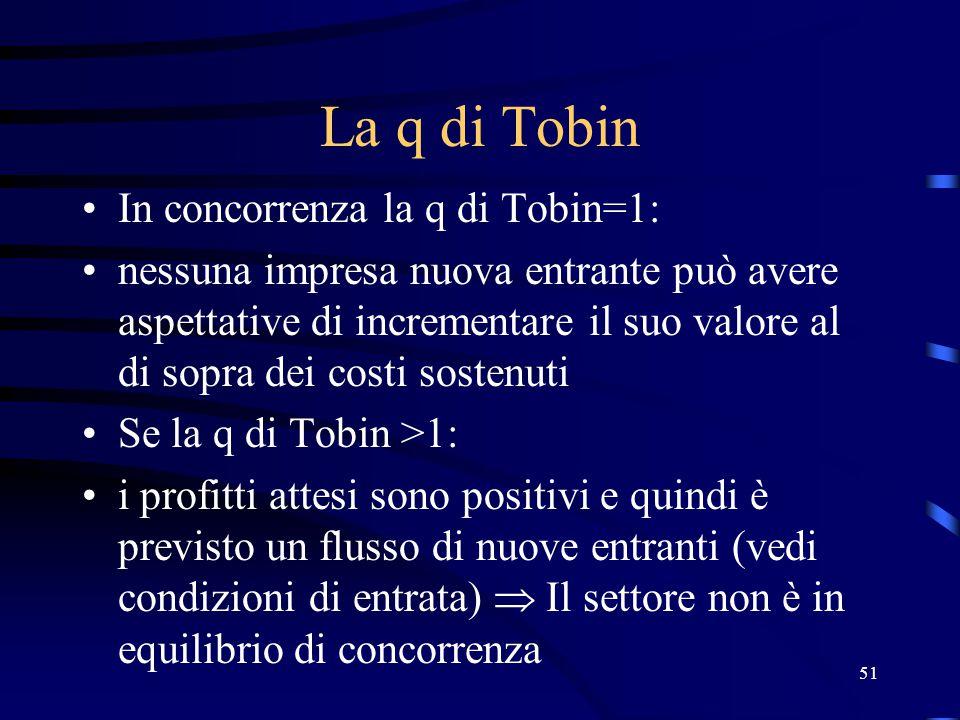 51 La q di Tobin In concorrenza la q di Tobin=1: nessuna impresa nuova entrante può avere aspettative di incrementare il suo valore al di sopra dei costi sostenuti Se la q di Tobin >1: i profitti attesi sono positivi e quindi è previsto un flusso di nuove entranti (vedi condizioni di entrata)  Il settore non è in equilibrio di concorrenza