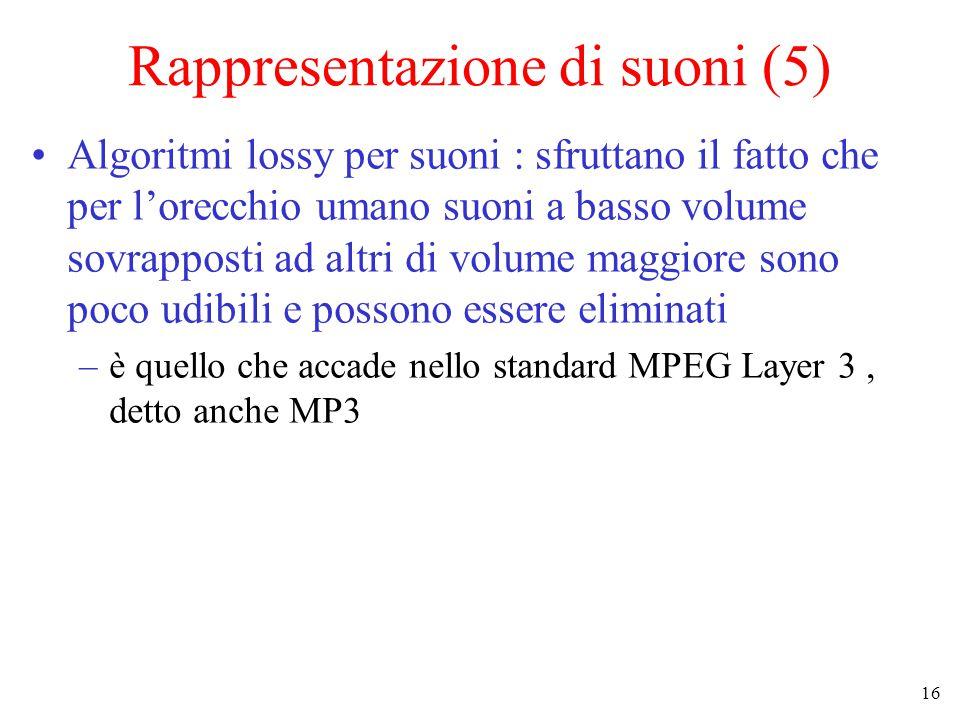 16 Rappresentazione di suoni (5) Algoritmi lossy per suoni : sfruttano il fatto che per l'orecchio umano suoni a basso volume sovrapposti ad altri di volume maggiore sono poco udibili e possono essere eliminati –è quello che accade nello standard MPEG Layer 3, detto anche MP3