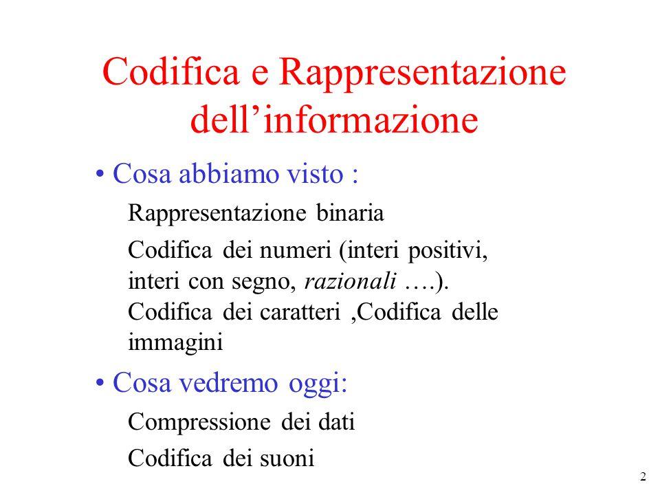 2 Codifica e Rappresentazione dell'informazione Cosa abbiamo visto : Rappresentazione binaria Codifica dei numeri (interi positivi, interi con segno, razionali ….).