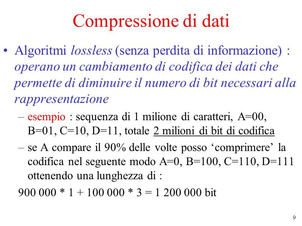 9 Compressione di dati Algoritmi lossless (senza perdita di informazione) : operano un cambiamento di codifica dei dati che permette di diminuire il numero di bit necessari alla rappresentazione –esempio : sequenza di 1 milione di caratteri, A=00, B=01, C=10, D=11, totale 2 milioni di bit di codifica –se A compare il 90% delle volte posso 'comprimere' la codifica nel seguente modo A=0, B=100, C=110, D=111 ottenendo una lunghezza di : 900 000 * 1 + 100 000 * 3 = 1 200 000 bit