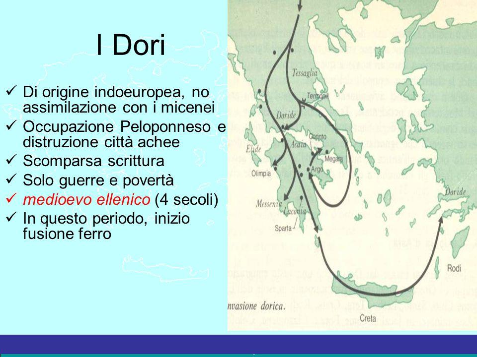 La Grecia Antica – a cura del prof. Marco Migliardi I Dori Di origine indoeuropea, no assimilazione con i micenei Occupazione Peloponneso e distruzion