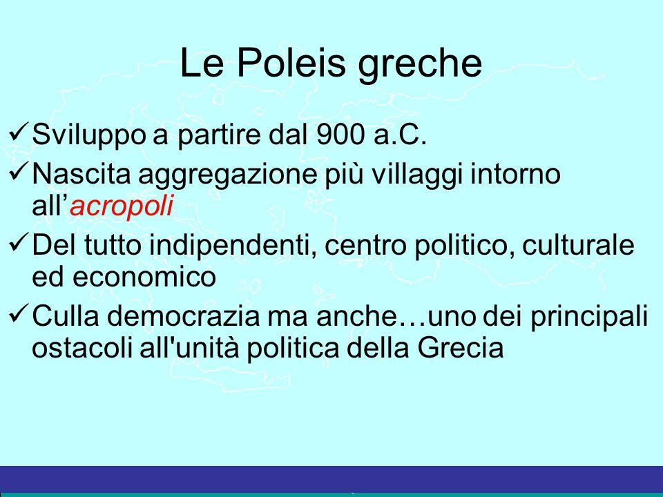 La Grecia Antica – a cura del prof. Marco Migliardi Le Poleis greche Sviluppo a partire dal 900 a.C. Nascita aggregazione più villaggi intorno all'acr