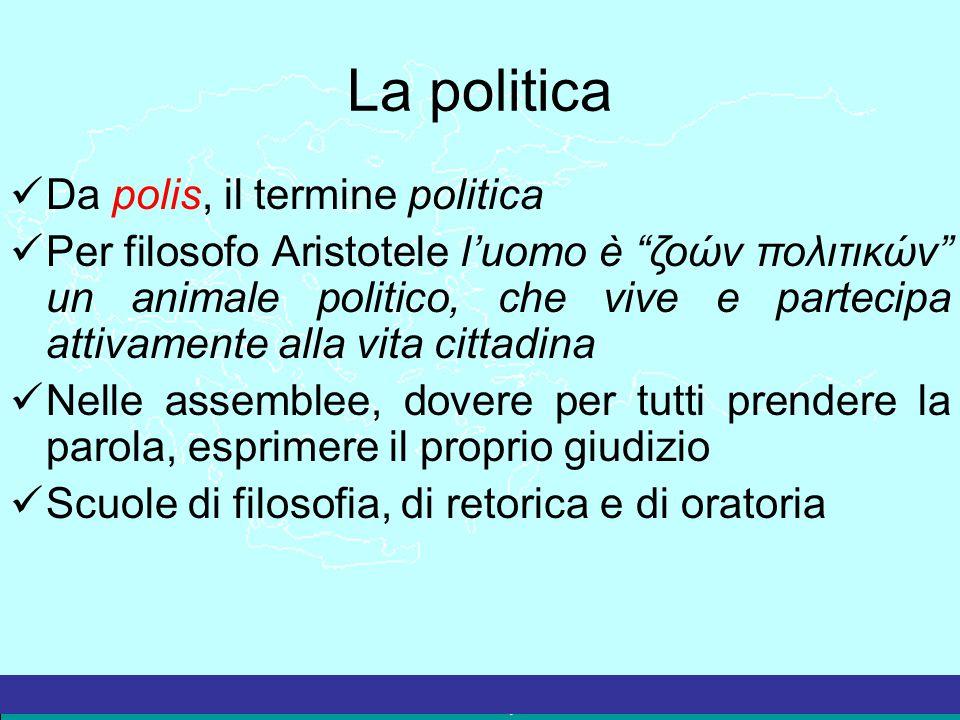 """La Grecia Antica – a cura del prof. Marco Migliardi La politica Da polis, il termine politica Per filosofo Aristotele l'uomo è """"ζοών πολιτικών"""" un ani"""