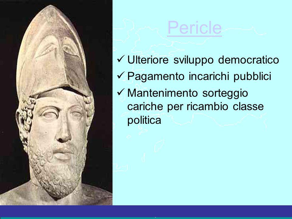 La Grecia Antica – a cura del prof. Marco Migliardi Pericle Ulteriore sviluppo democratico Pagamento incarichi pubblici Mantenimento sorteggio cariche
