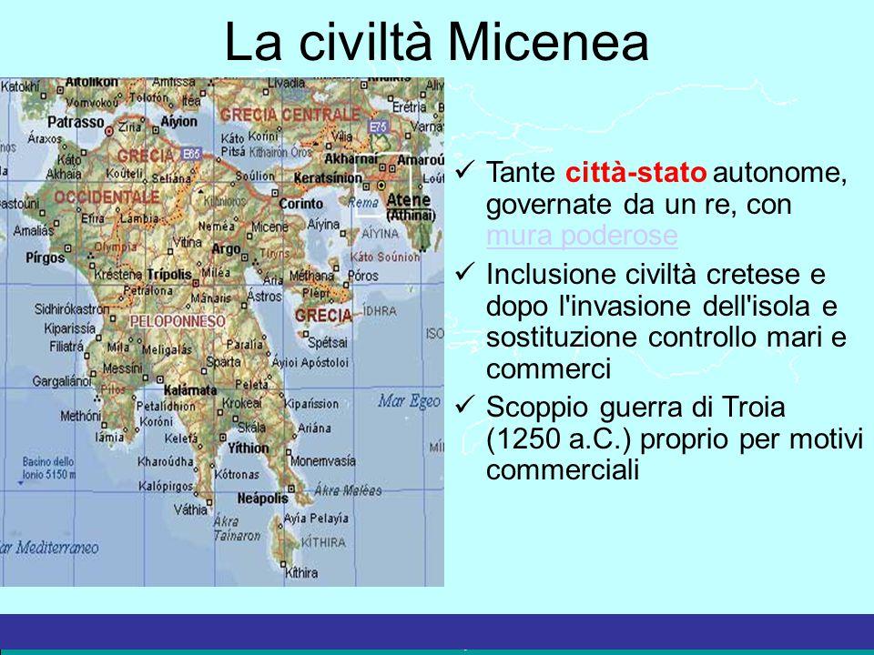 La civiltà Micenea Tante città-stato autonome, governate da un re, con mura poderose mura poderose Inclusione civiltà cretese e dopo l'invasione dell'
