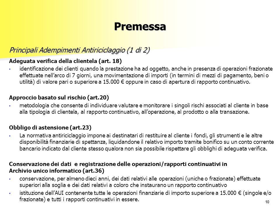 10 Adeguata verifica della clientela (art. 18) identificazione dei clienti quando la prestazione ha ad oggetto, anche in presenza di operazioni frazio