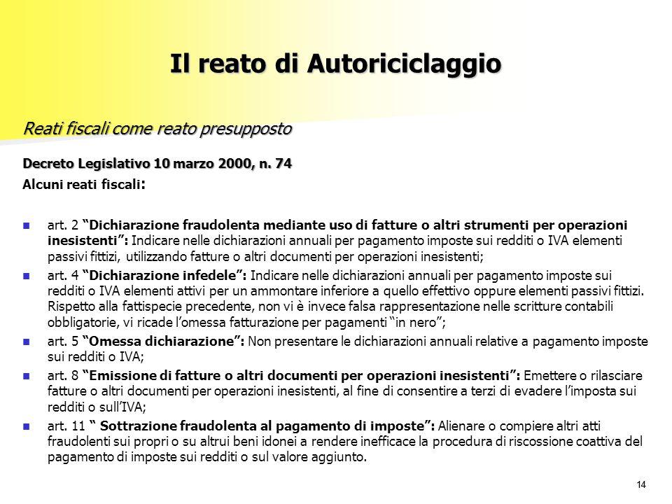 """14 Decreto Legislativo 10 marzo 2000, n. 74 Alcuni reati fiscali : art. 2 """"Dichiarazione fraudolenta mediante uso di fatture o altri strumenti per ope"""