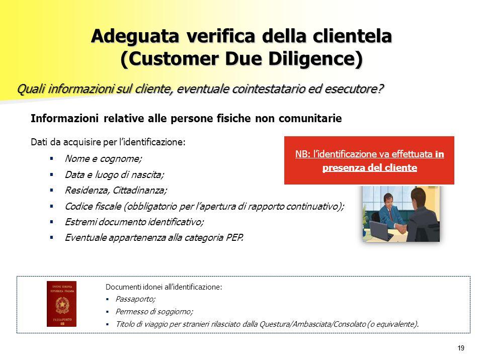19 Adeguata verifica della clientela (Customer Due Diligence) Quali informazioni sul cliente, eventuale cointestatario ed esecutore? Informazioni rela