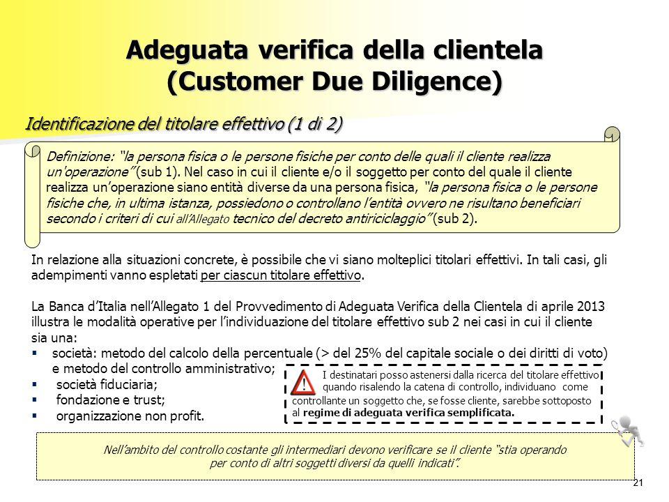 """21 Adeguata verifica della clientela (Customer Due Diligence) Identificazione del titolare effettivo (1 di 2) Definizione: """"la persona fisica o le per"""