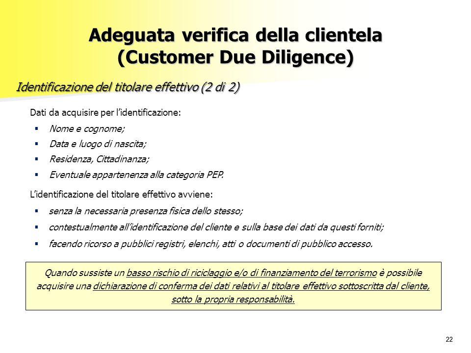 22 Adeguata verifica della clientela (Customer Due Diligence) Identificazione del titolare effettivo (2 di 2) Dati da acquisire per l'identificazione:
