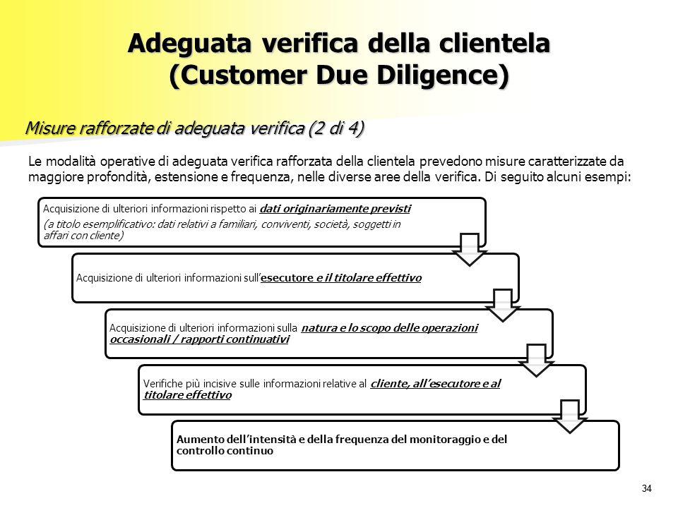 34 Le modalità operative di adeguata verifica rafforzata della clientela prevedono misure caratterizzate da maggiore profondità, estensione e frequenz