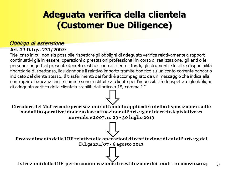 """37 Obbligo di astensione Obbligo di astensione Art. 23 D.Lgs. 231/2007: """"Nel caso in cui non sia possibile rispettare gli obblighi di adeguata verific"""