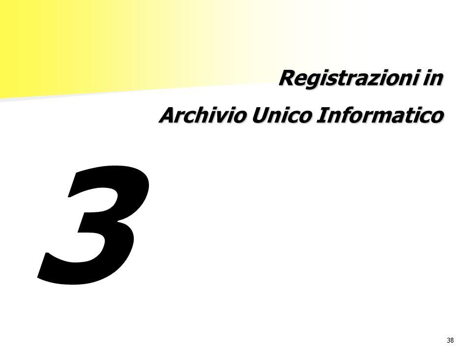 38 Registrazioni in Archivio Unico Informatico 3