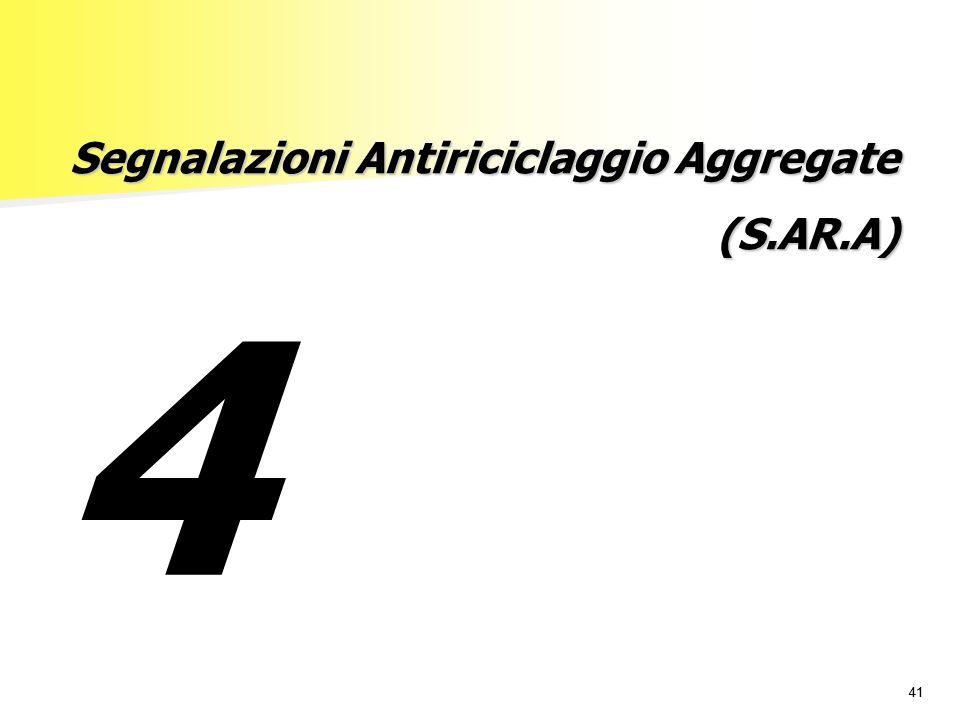 41 Segnalazioni Antiriciclaggio Aggregate (S.AR.A) 4