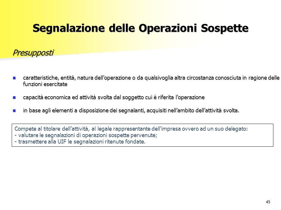 45 Segnalazione delle Operazioni Sospette caratteristiche, entità, natura dell'operazione o da qualsivoglia altra circostanza conosciuta in ragione de