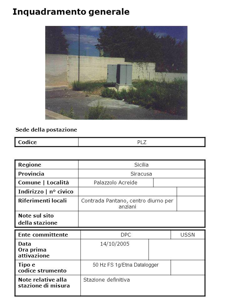 Sede della postazione CodicePLZ Ente committenteDPCUSSN Data Ora prima attivazione 14/10/2005 Tipo e codice strumento 50 Hz FS 1g/Etna Datalogger Note