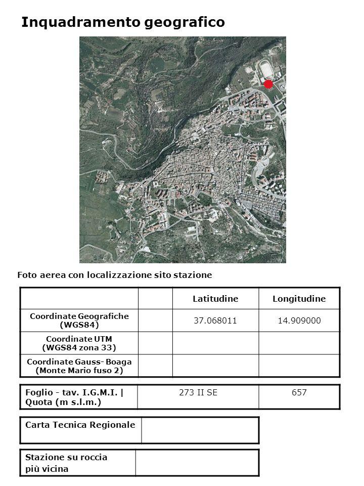 Foto aerea con localizzazione sito stazione Foglio - tav. I.G.M.I. | Quota (m s.l.m.) 273 II SE657 Inquadramento geografico LatitudineLongitudine Coor
