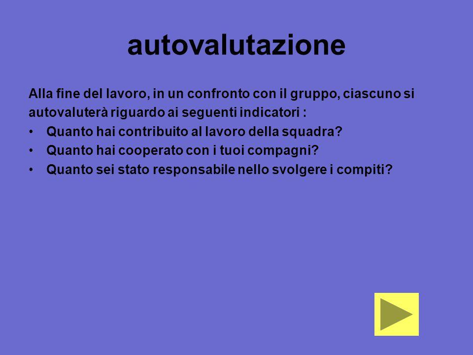 autovalutazione Alla fine del lavoro, in un confronto con il gruppo, ciascuno si autovaluterà riguardo ai seguenti indicatori : Quanto hai contribuito