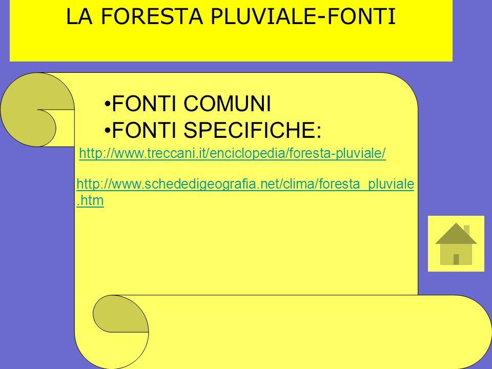http://www.treccani.it/enciclopedia/foresta-pluviale/ LA FORESTA PLUVIALE-FONTI http://www.schededigeografia.net/clima/foresta_pluviale.htm FONTI COMU