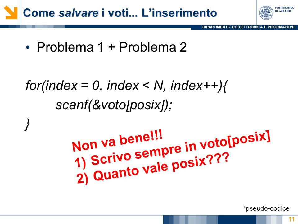 DIPARTIMENTO DI ELETTRONICA E INFORMAZIONE Come salvare i voti... L'inserimento Problema 1 + Problema 2 for(index = 0, index < N, index++){ scanf(&vot