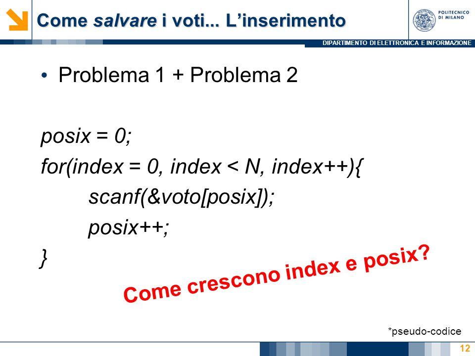 DIPARTIMENTO DI ELETTRONICA E INFORMAZIONE Come salvare i voti... L'inserimento Problema 1 + Problema 2 posix = 0; for(index = 0, index < N, index++){